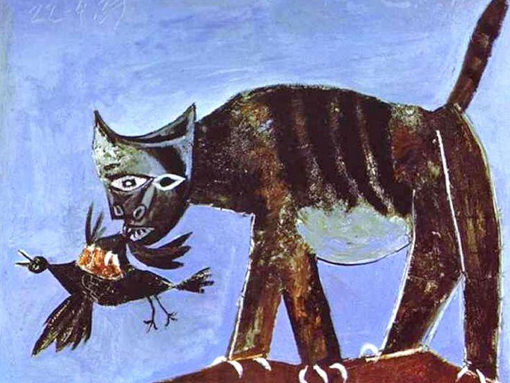 Uccello ferito e gatto. Pablo Picasso (1938)