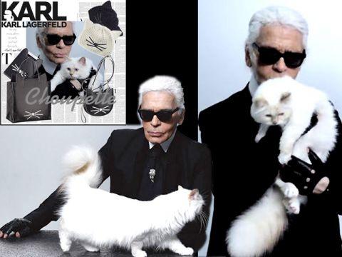 Gatta Choupette con lo stilista Lagerfeld